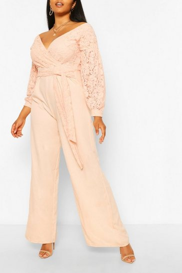 Blush Plus Lace Off The Shoulder Wide Leg Jumpsuit