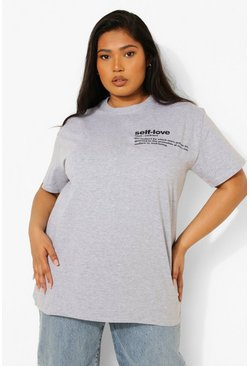 "Grey marl Plus - ""Self Love"" T-shirt med slogan"