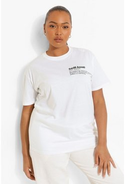 White Plus Self Love Slogan Pocket Print T-Shirt