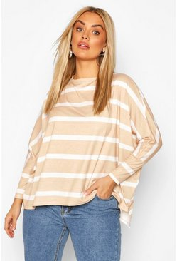 Stone Plus Stripe Batwing Sleeve Top