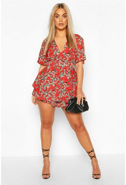 Red Plus Floral Wrap Skort Playsuit