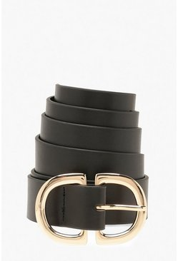 Black Plus Half Circle Boyfriend Belt