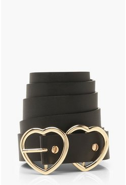 Black Plus Double Heart Buckle Boyfriend Belt