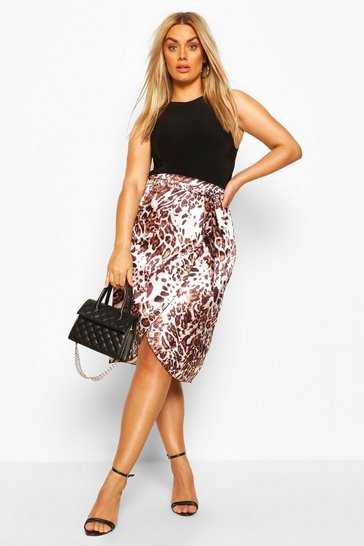 Brown Plus Satin Leopard Snake Wrap Skirt