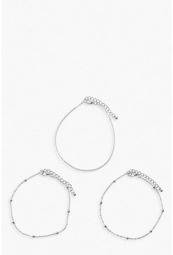 Silver Plus 3 Chain Anklet Pack