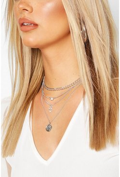 Silver Plus Layered Cross Pendant Choker Necklace