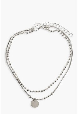 Silver Plus Circle Pendant Anklet