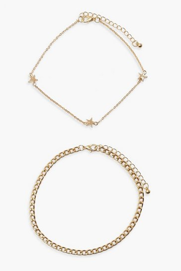 Gold Plus 2 Chain Star Anklet
