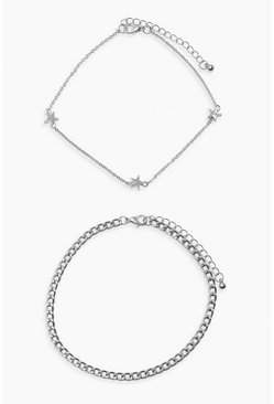 Silver Plus 2 Chain Star Anklet