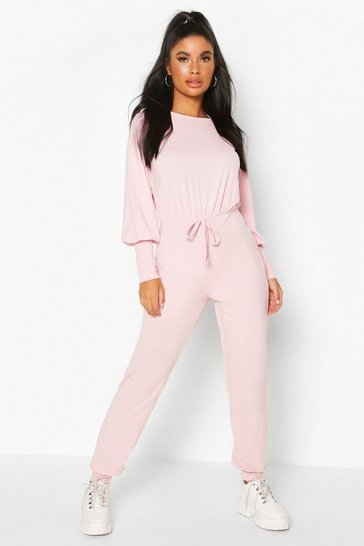 Blush Petite Ribbed Jogger Jumpsuit