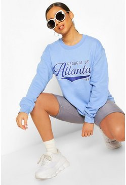 Blue Petite 'Atlanta' Oversized Sweat