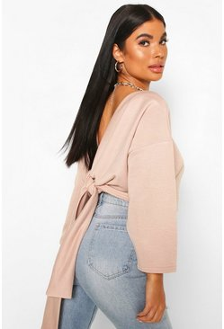 Rose Petite Knot Back Sweat Top