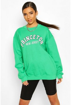 Green Petite 'Princeton' Oversized Sweat