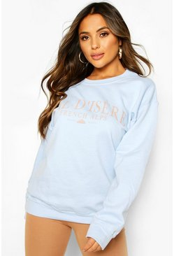 Light blue Petite 'Val-d'Isère' Oversized Sweat