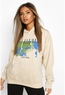 "Stone Petite - ""Wild Life"" Oversize hoodie med fototryck"