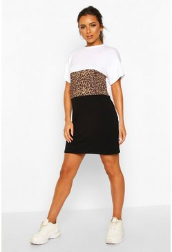 White Petite Leopard Contrast Panel T-Shirt Dress