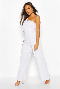 White Petite - One shoulder jumpsuit med drapering