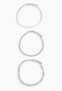 Silver Plus 3 Pack Chain Anklet
