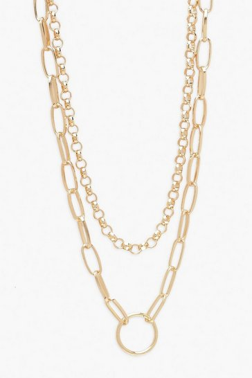 Gold Plus O-Ring Chain Layered Choker