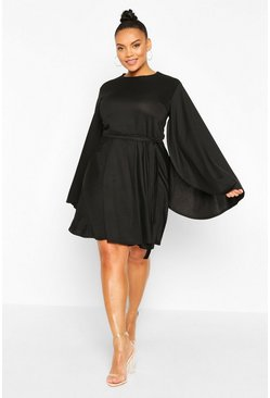 Black Plus Split Sleeve Skater Dress