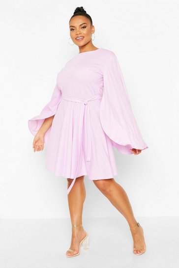 Lilac Plus Split Sleeve Skater Dress