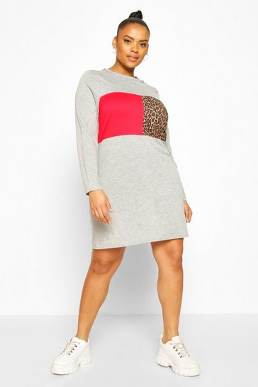 Grey Plus Leopard Panel Oversized T-Shirt Dress
