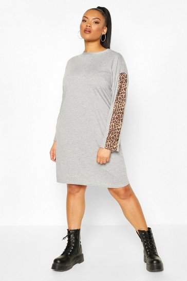 Grey Plus Leopard Stripe Long Sleeve Dress