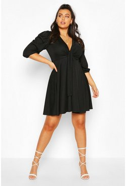 Black Plus Knot Front Skater Dress