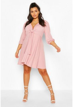 Blush Plus Knot Front Skater Dress