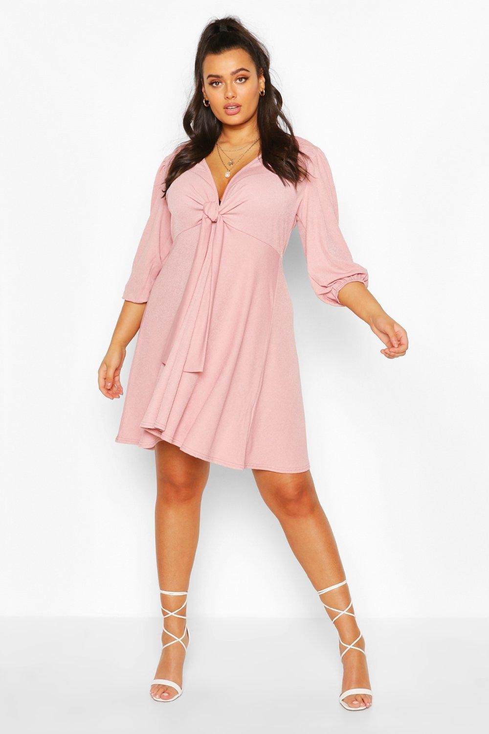 Plus Knot Front Skater Dress 7