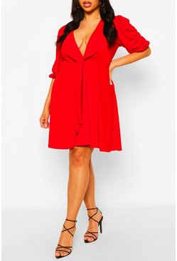 Red Plus Knot Front Skater Dress