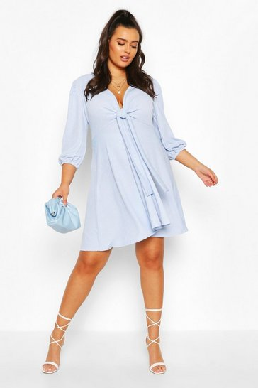 Sky Plus Knot Front Skater Dress
