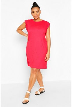Red Plus Ruffle Detail Shift Dress