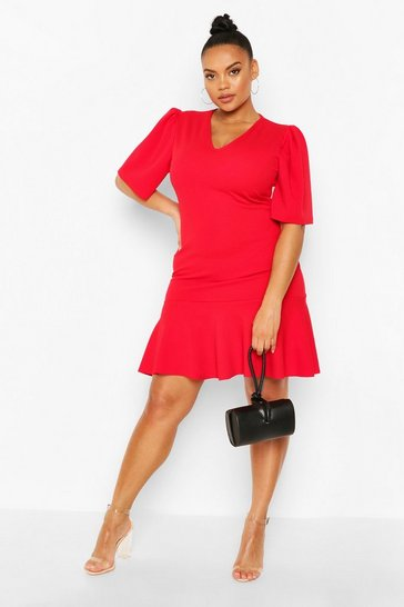 Red Plus Puff Sleeve Ruffle Shift Dress