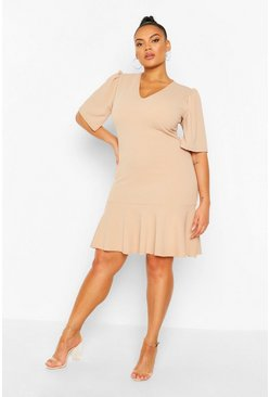 Stone Plus Puff Sleeve Ruffle Shift Dress