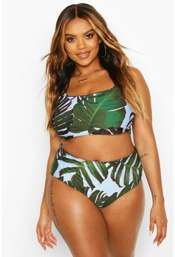 Blue Plus Tropical Printed High Waist Bikini