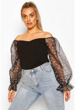 Black Plus Bardot Floral Organza Top