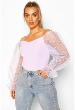 Lilac Plus Off The Shoulder Floral Organza Top