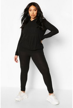 Black Plus Soft Rib Hoody & Legging Lounge Set
