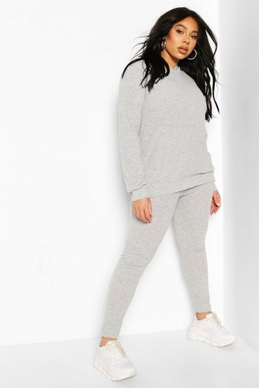 Grey Plus Soft Rib Hoody & Legging Lounge Set