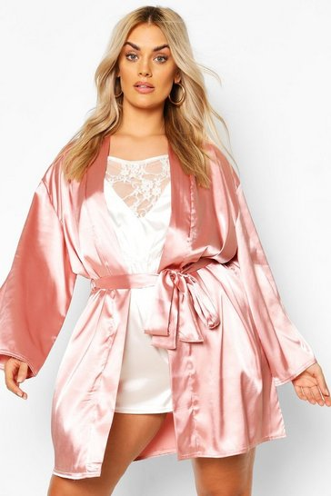 Blush Plus Satin Belted Mini Robe