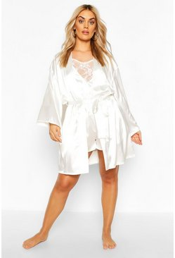 Ivory Plus Satin Belted Mini Robe