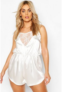 Ivory Plus Lace Insert Satin Romper Teddy