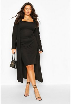 Black Plus Rib Midi And Kimono Co-ord