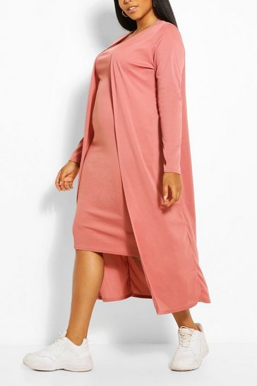 Rose Plus Rib Midi And Kimono Co-ord