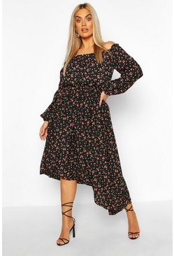Black Plus Floral Bardot Asymmetric Midi Dress