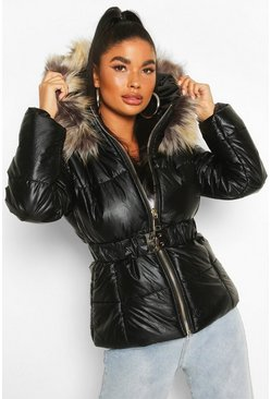 Black Petite Faux Fur Hooded Puffer Jacket
