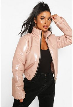 Blush Petite High Shine Vinyl Puffer Jacket