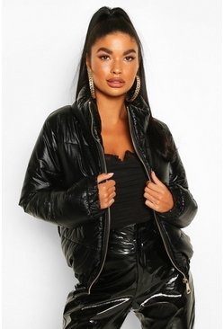 Black Petite Metallic Puffer Jacket