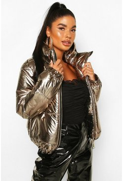 Gold Petite Metallic Puffer Jacket